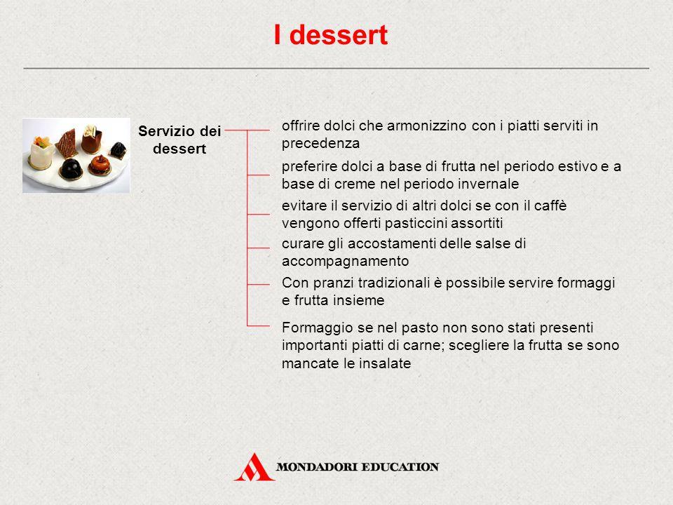 I dessert offrire dolci che armonizzino con i piatti serviti in precedenza. Servizio dei dessert.