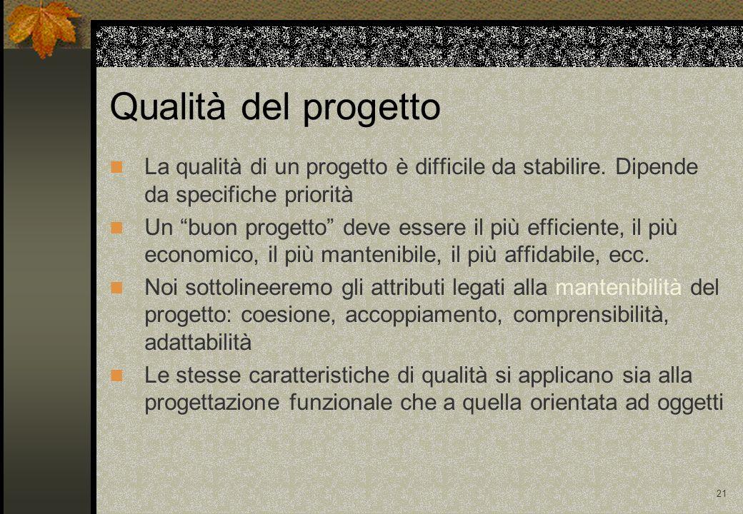 Qualità del progetto La qualità di un progetto è difficile da stabilire. Dipende da specifiche priorità.