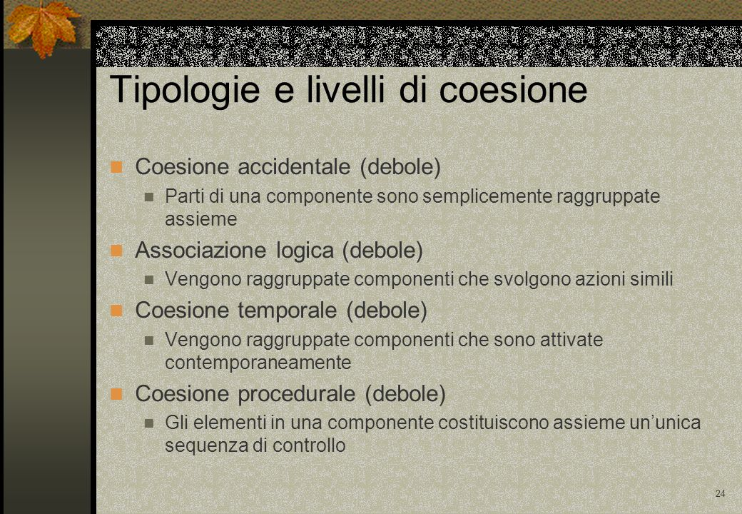 Tipologie e livelli di coesione