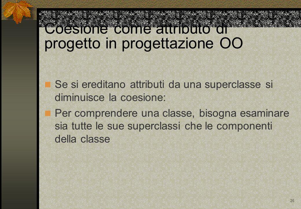 Coesione come attributo di progetto in progettazione OO