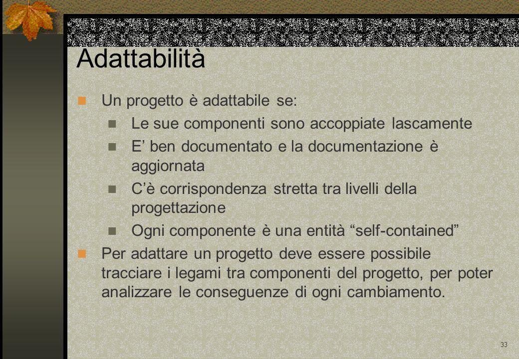 Adattabilità Un progetto è adattabile se: