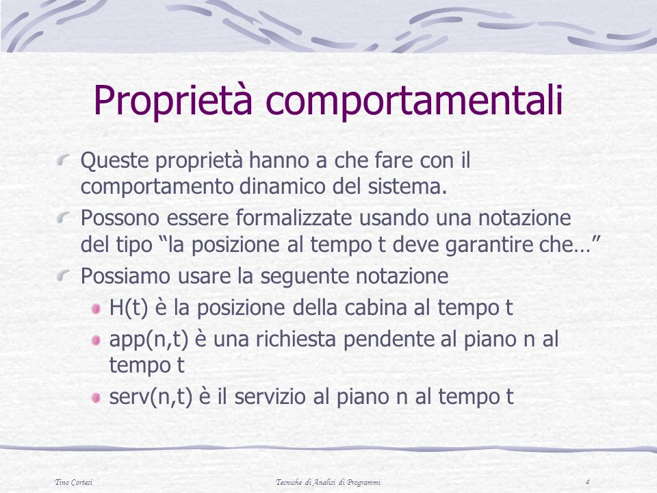 Proprietà comportamentali