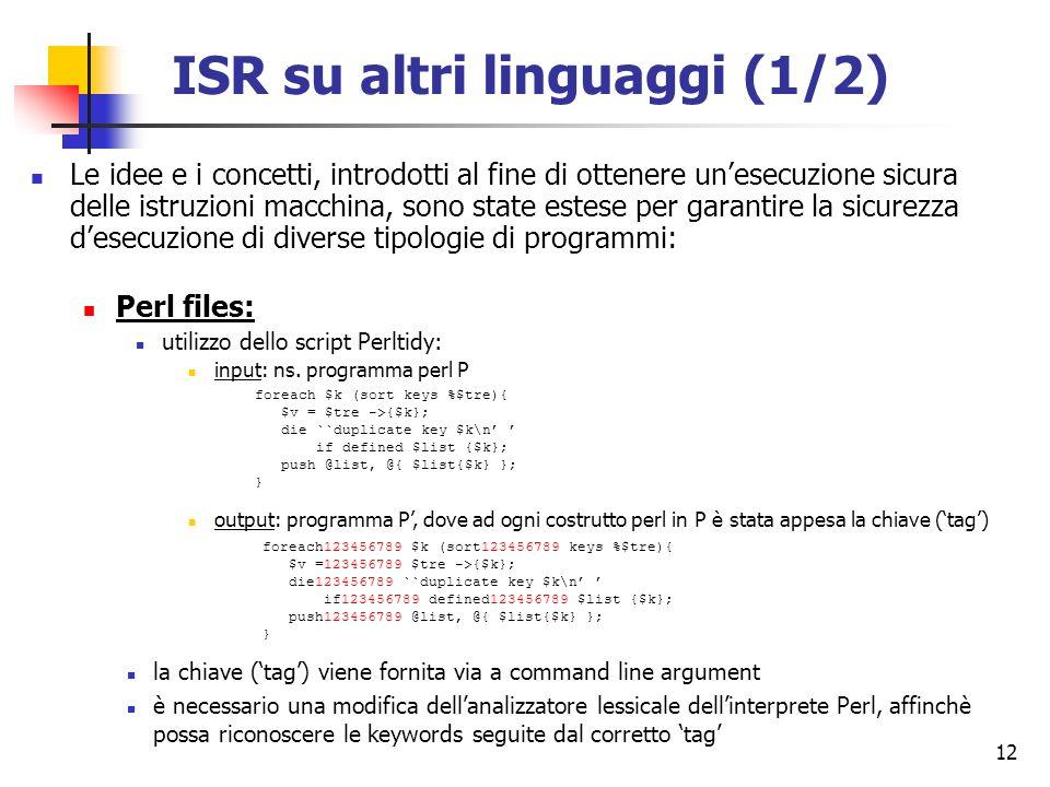 ISR su altri linguaggi (1/2)