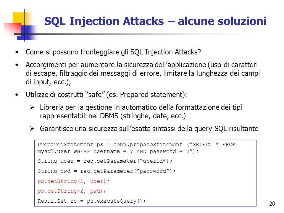 SQL Injection Attacks – alcune soluzioni