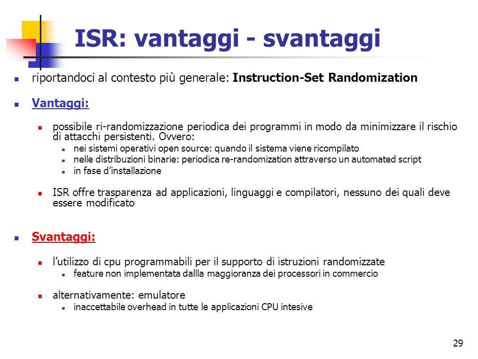 ISR: vantaggi - svantaggi