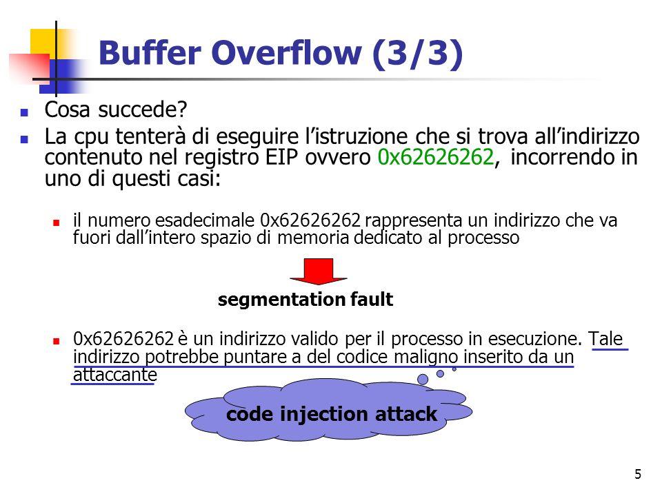 Buffer Overflow (3/3) Cosa succede