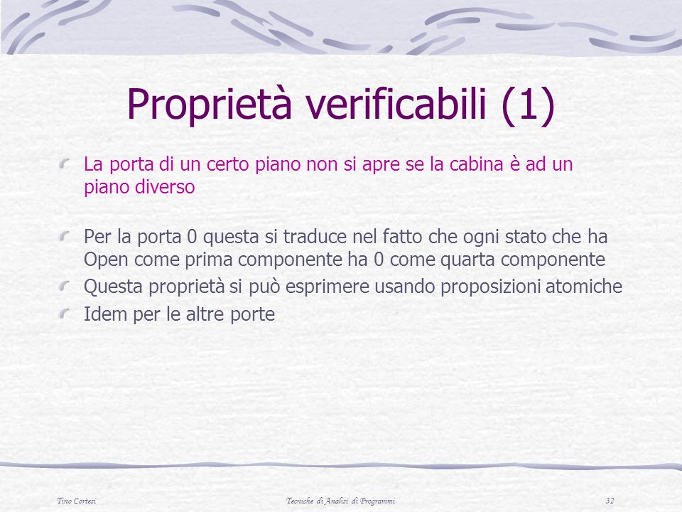 Proprietà verificabili (1)