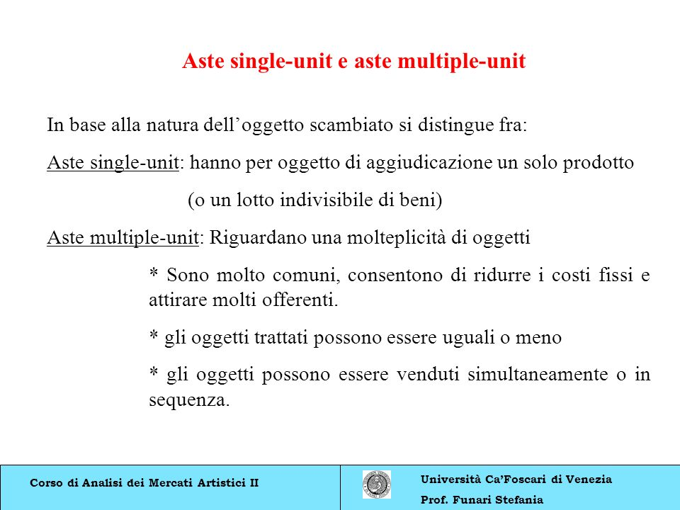 Aste single-unit e aste multiple-unit