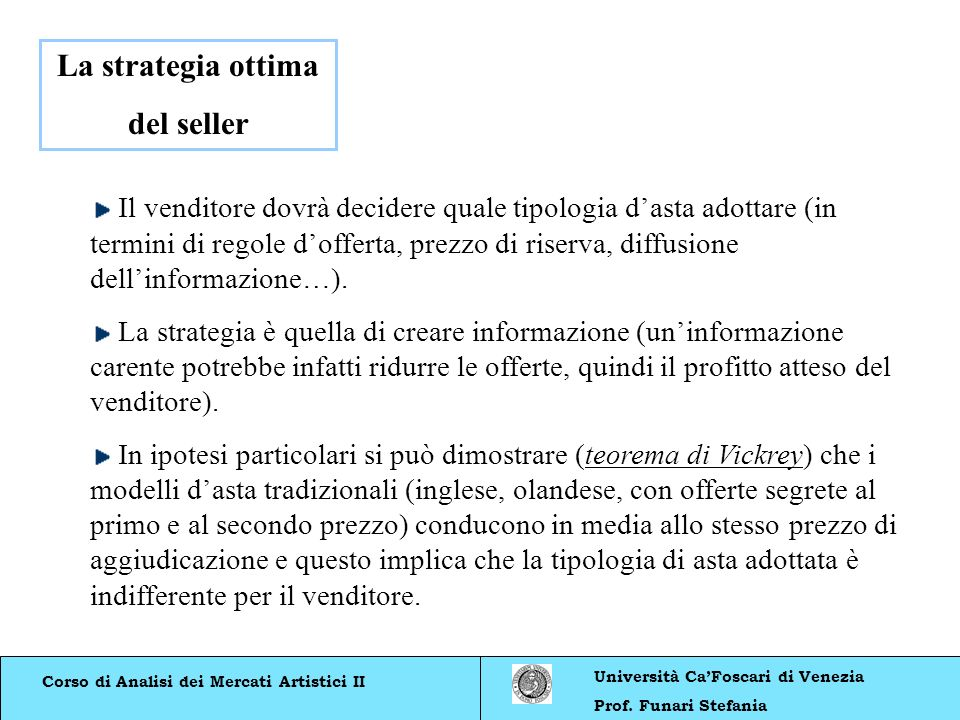 La strategia ottima del seller
