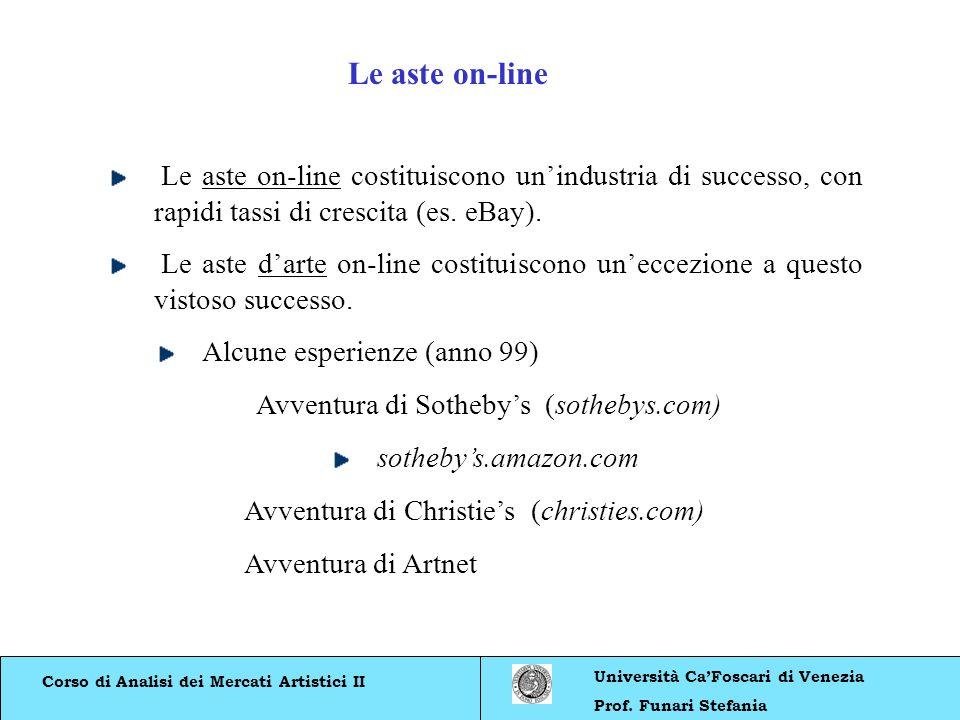 Le aste on-line Le aste on-line costituiscono un'industria di successo, con rapidi tassi di crescita (es. eBay).