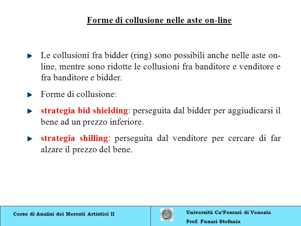 Forme di collusione nelle aste on-line