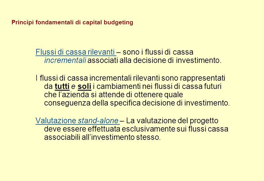 Principi fondamentali di capital budgeting