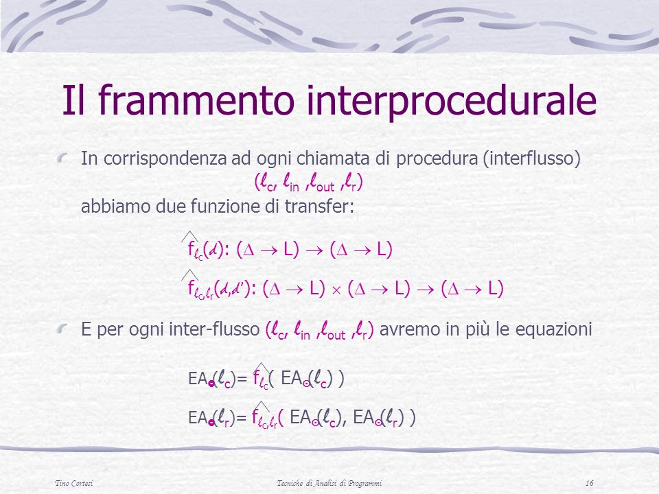 Il frammento interprocedurale