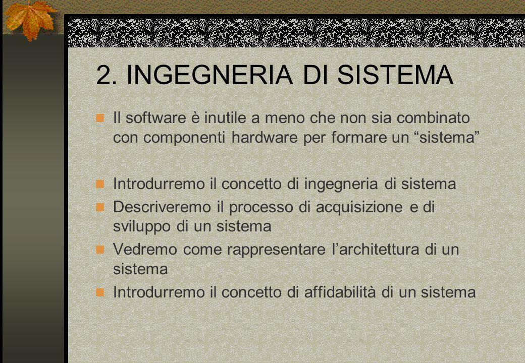 2. INGEGNERIA DI SISTEMA Il software è inutile a meno che non sia combinato con componenti hardware per formare un sistema