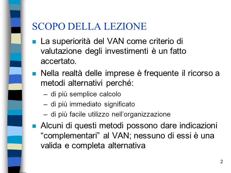 SCOPO DELLA LEZIONE La superiorità del VAN come criterio di valutazione degli investimenti è un fatto accertato.