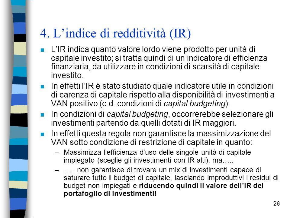 4. L'indice di redditività (IR)