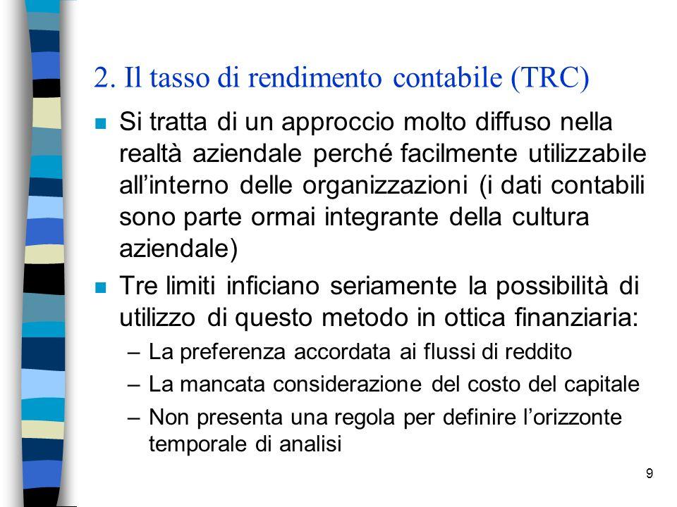 2. Il tasso di rendimento contabile (TRC)