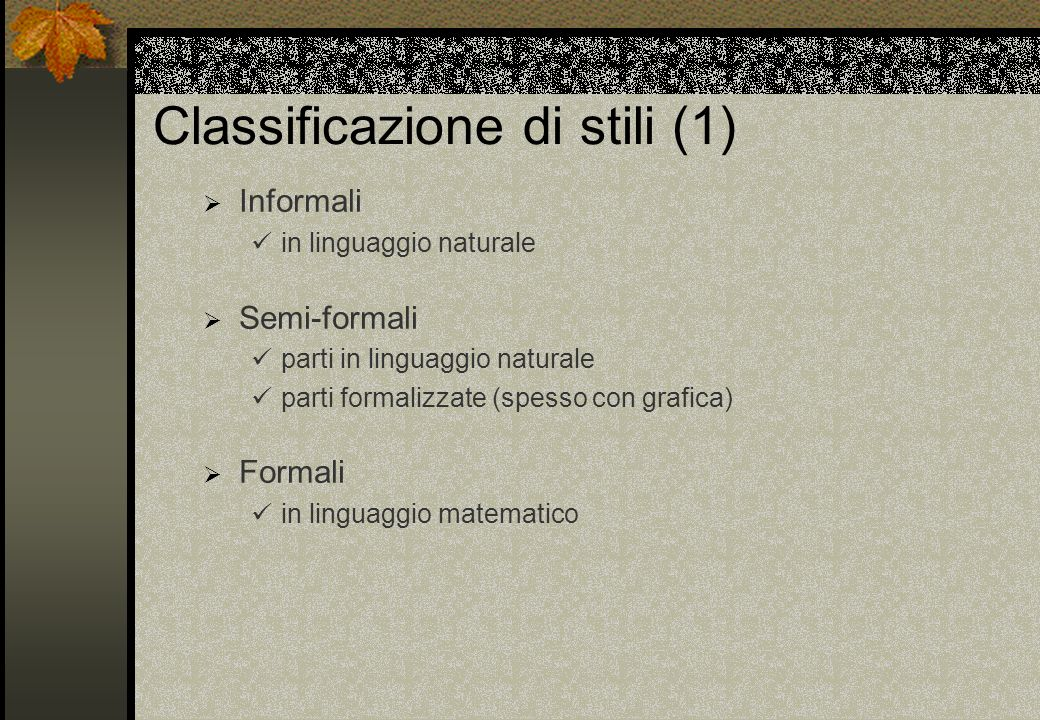 Classificazione di stili (1)