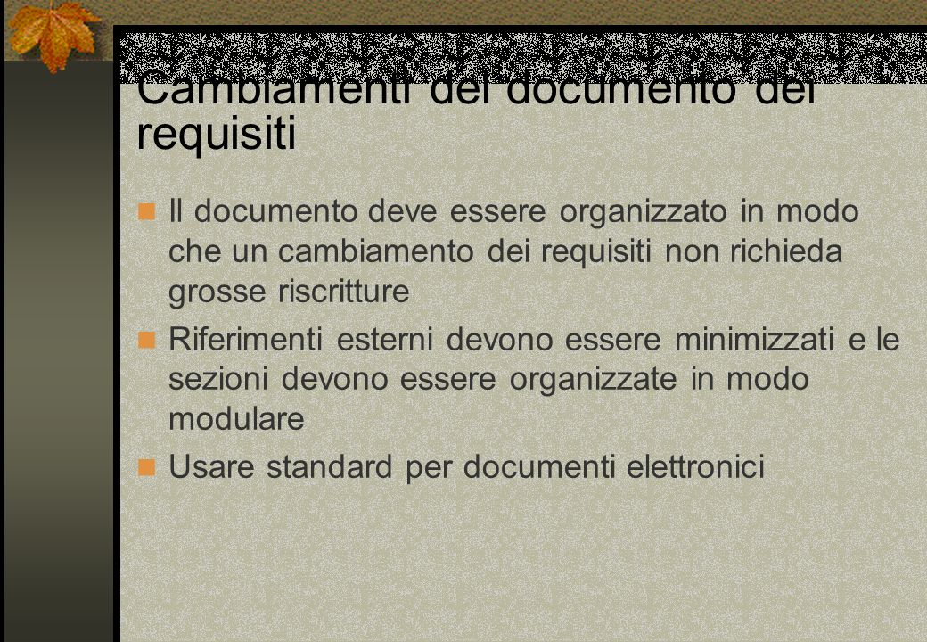 Cambiamenti del documento dei requisiti