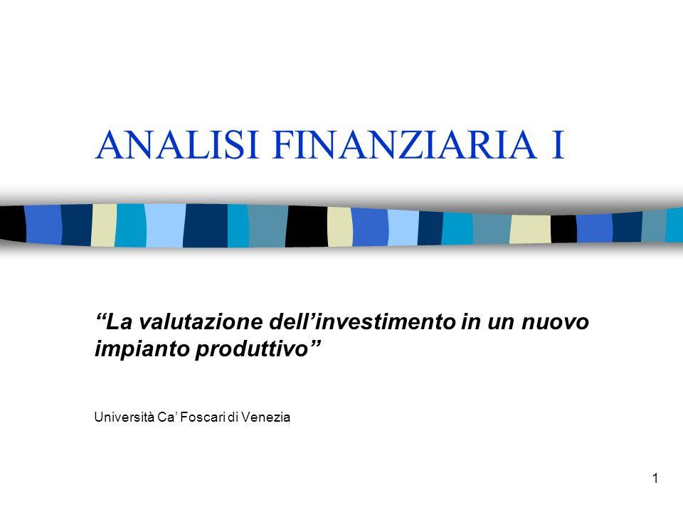ANALISI FINANZIARIA I La valutazione dell'investimento in un nuovo impianto produttivo Università Ca' Foscari di Venezia.