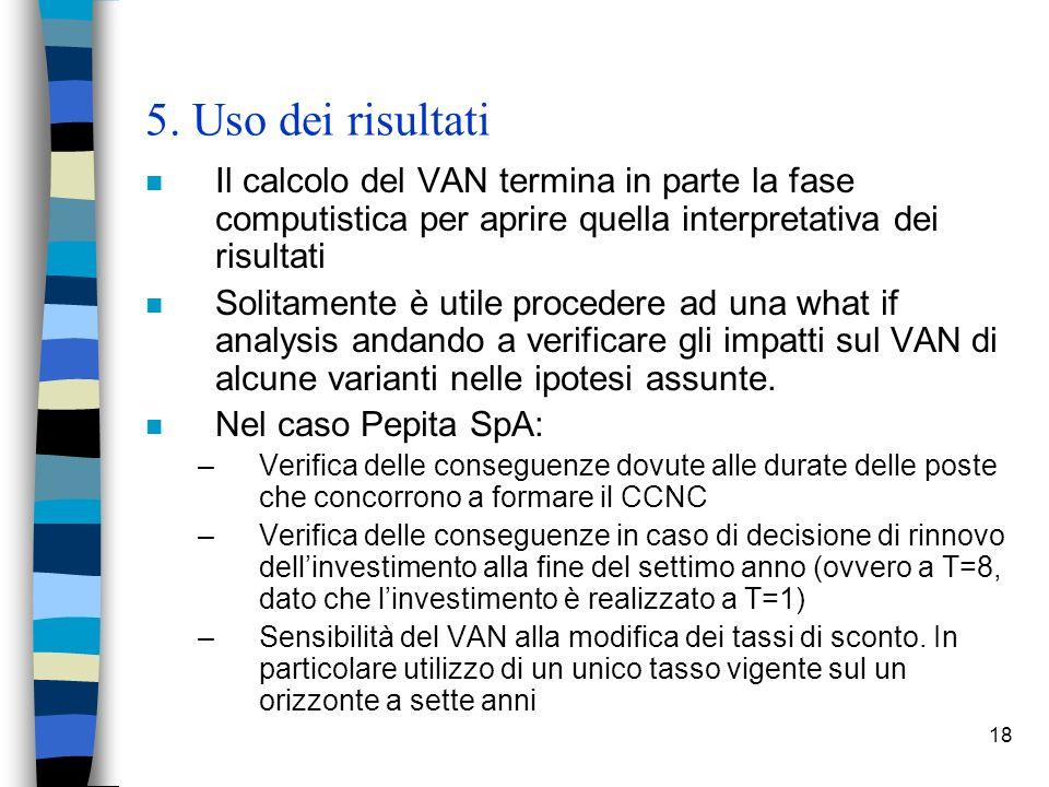 5. Uso dei risultati Il calcolo del VAN termina in parte la fase computistica per aprire quella interpretativa dei risultati.