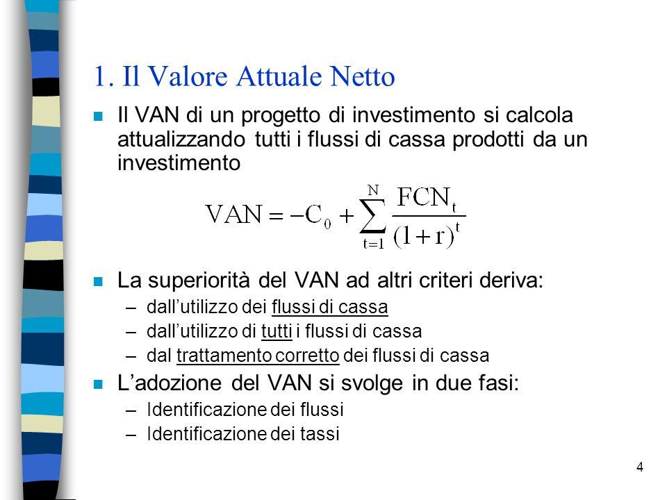1. Il Valore Attuale Netto