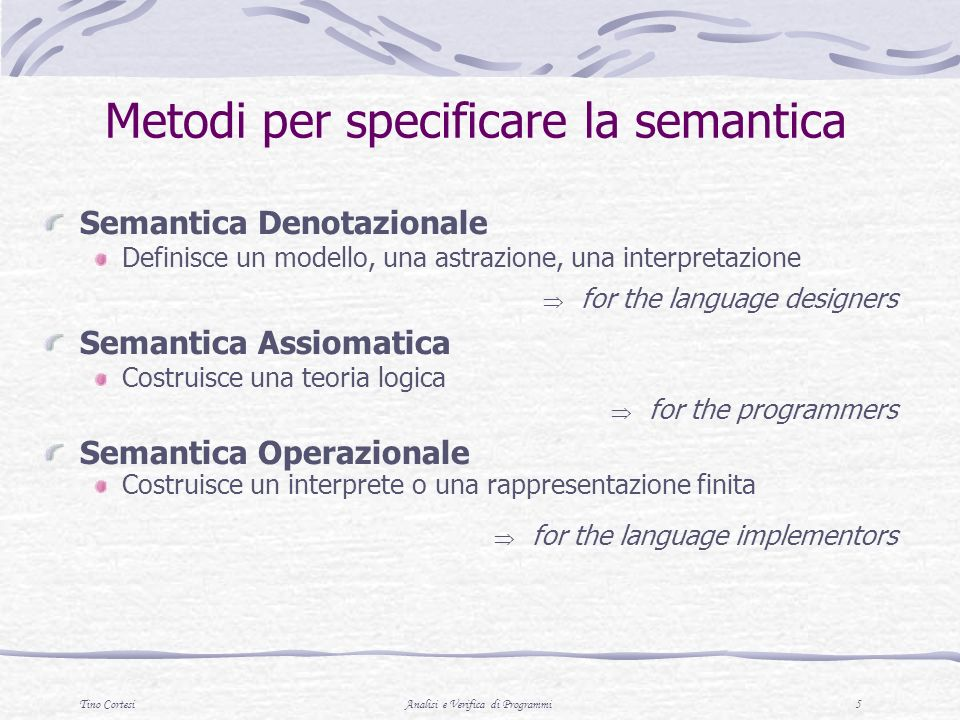 Metodi per specificare la semantica