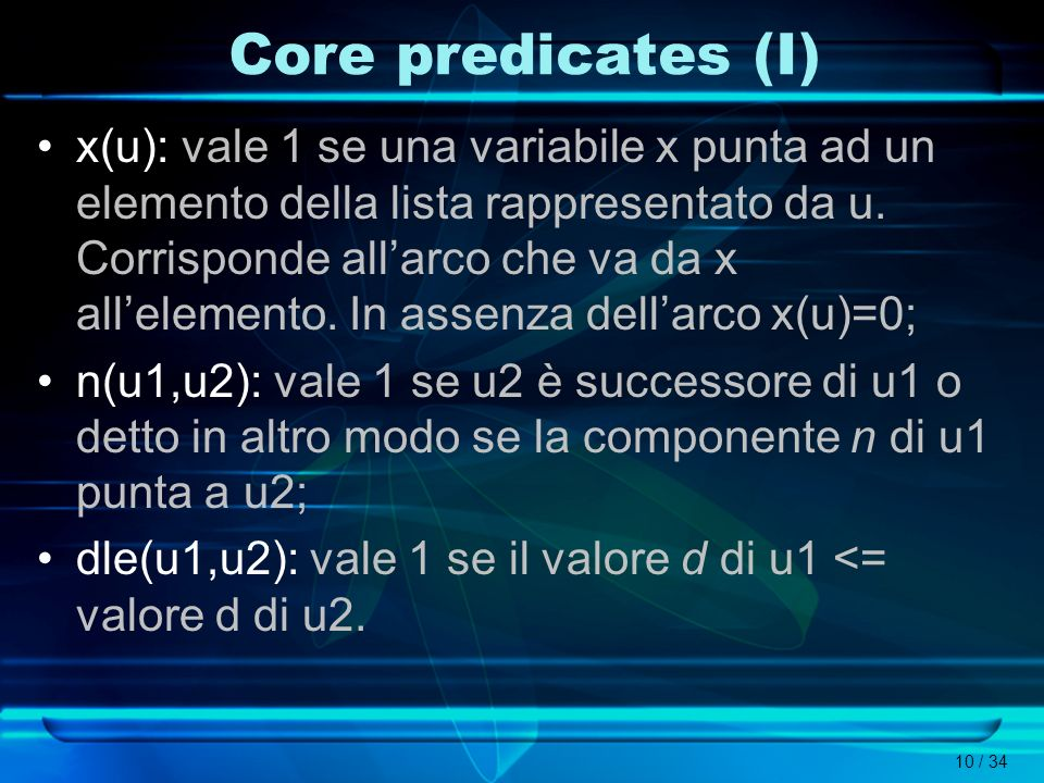 Core predicates (I)