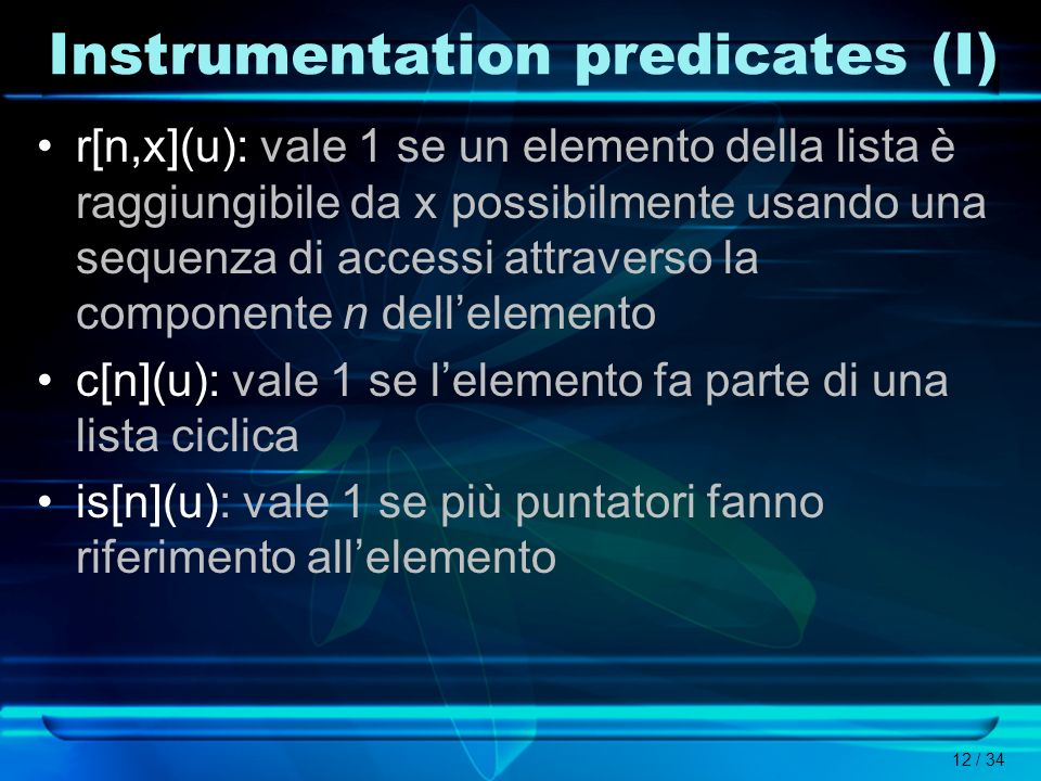 Instrumentation predicates (I)