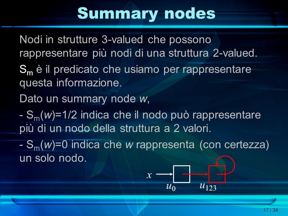 Summary nodes Nodi in strutture 3-valued che possono rappresentare più nodi di una struttura 2-valued.