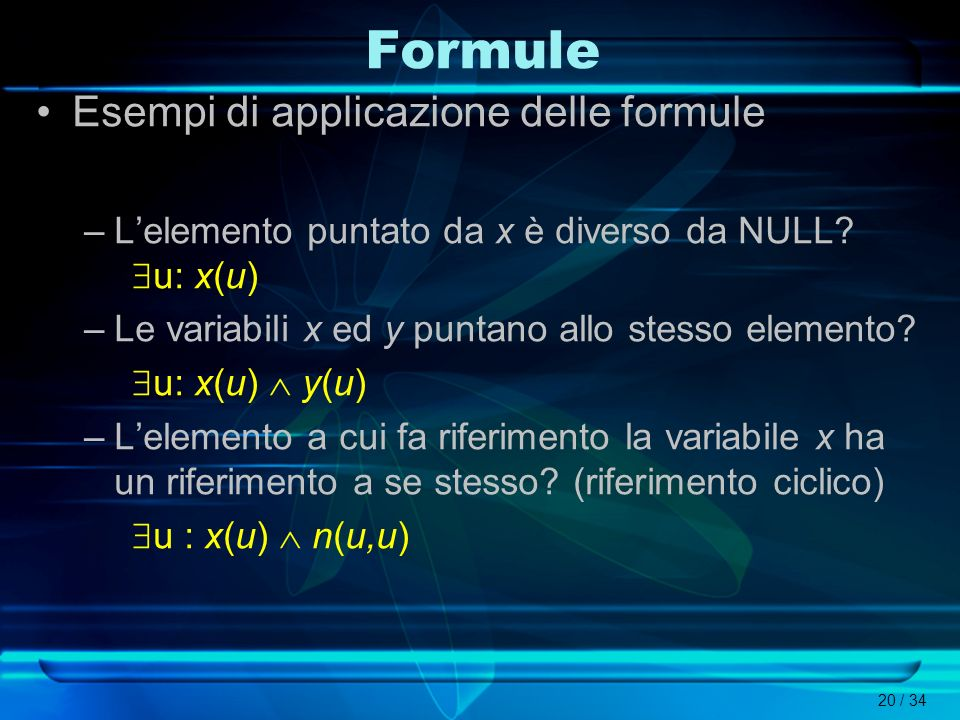 Formule Esempi di applicazione delle formule