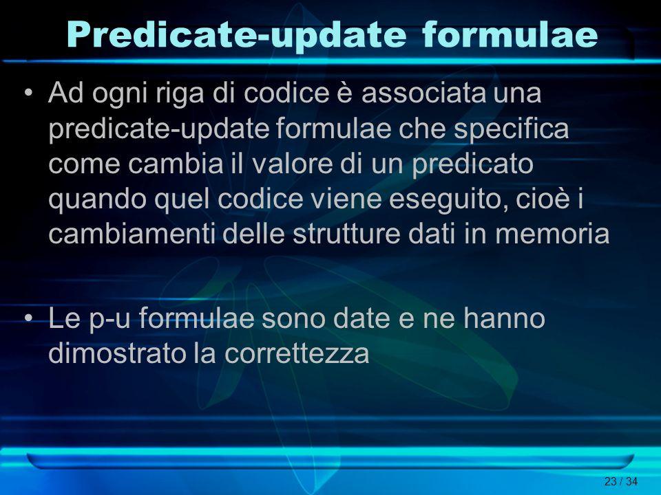 Predicate-update formulae