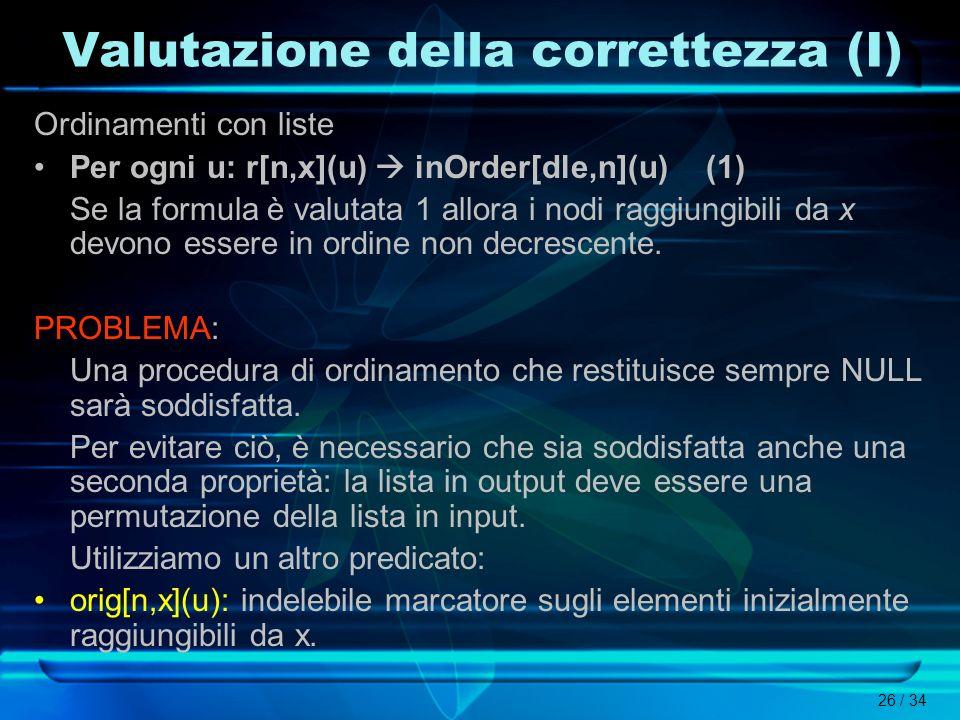 Valutazione della correttezza (I)