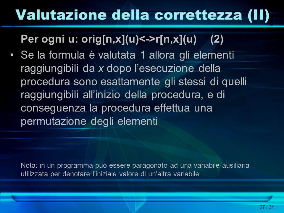 Valutazione della correttezza (II)