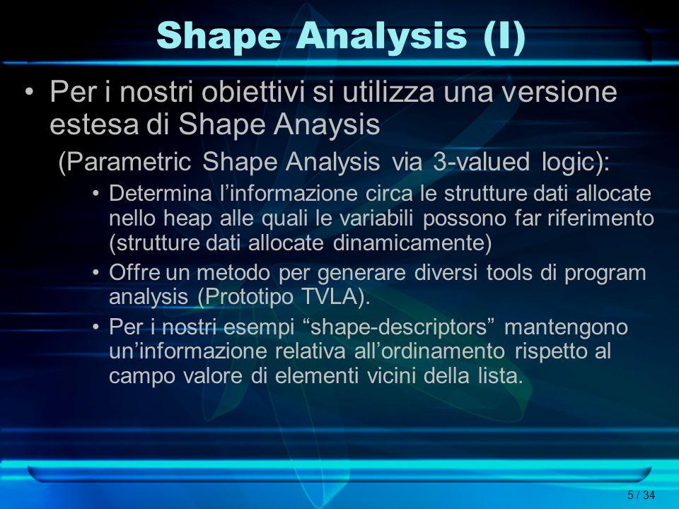 Shape Analysis (I)Per i nostri obiettivi si utilizza una versione estesa di Shape Anaysis. (Parametric Shape Analysis via 3-valued logic):