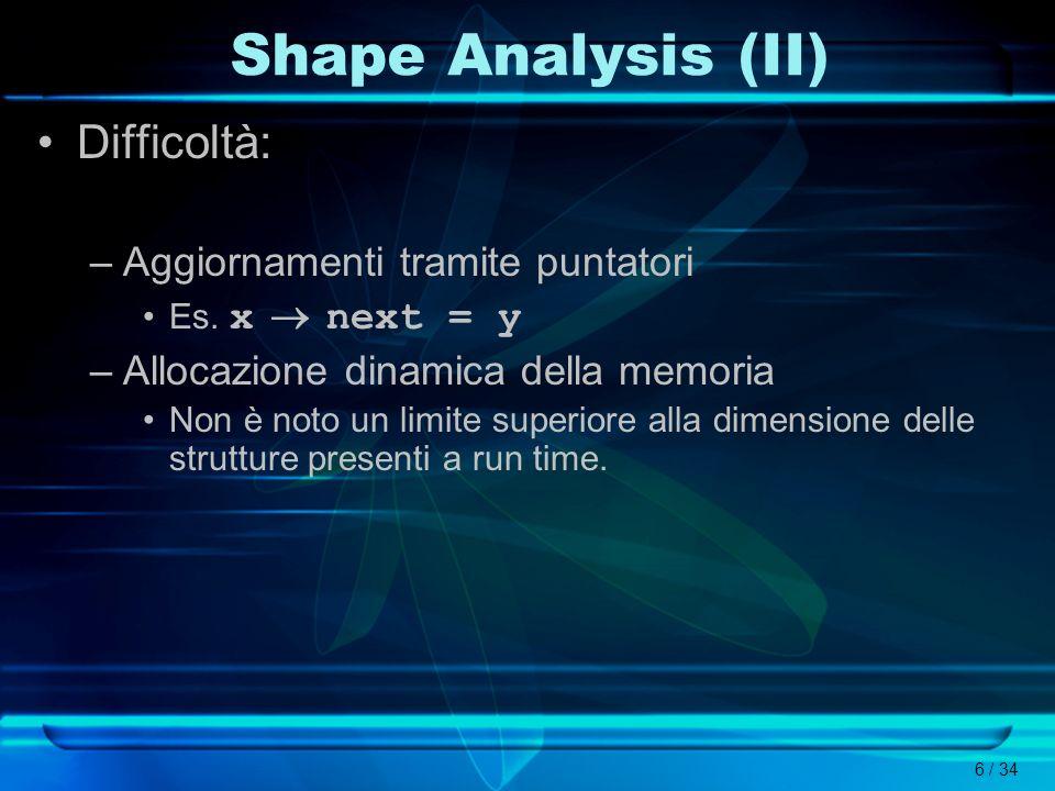 Shape Analysis (II) Difficoltà: Aggiornamenti tramite puntatori