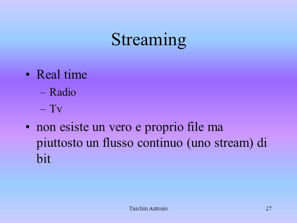 Streaming Real time. Radio. Tv. non esiste un vero e proprio file ma piuttosto un flusso continuo (uno stream) di bit.