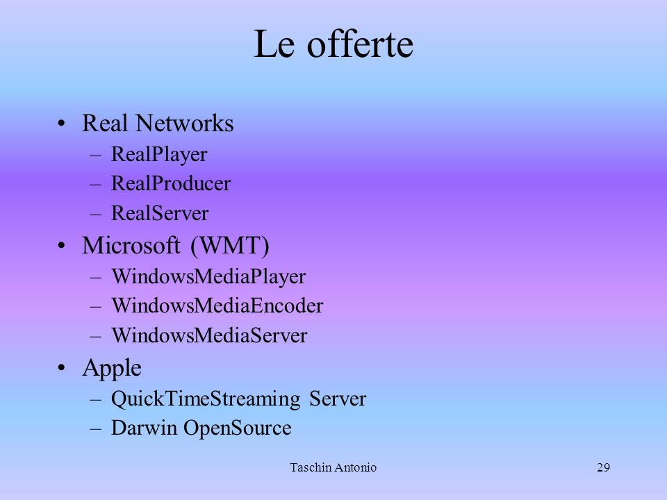 Le offerte Real Networks Microsoft (WMT) Apple RealPlayer RealProducer