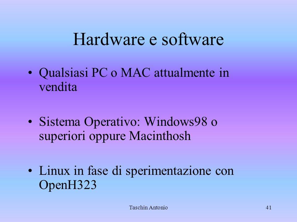 Hardware e software Qualsiasi PC o MAC attualmente in vendita