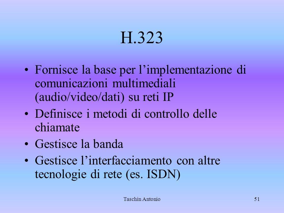 H.323 Fornisce la base per l'implementazione di comunicazioni multimediali (audio/video/dati) su reti IP.