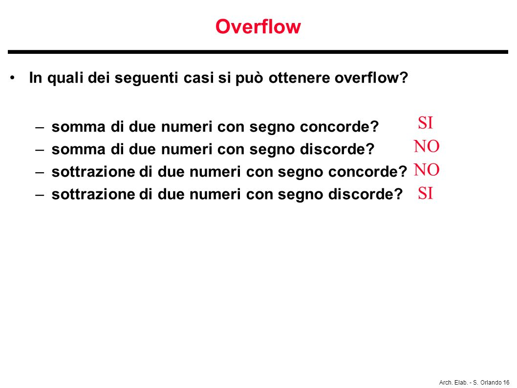 Overflow In quali dei seguenti casi si può ottenere overflow somma di due numeri con segno concorde