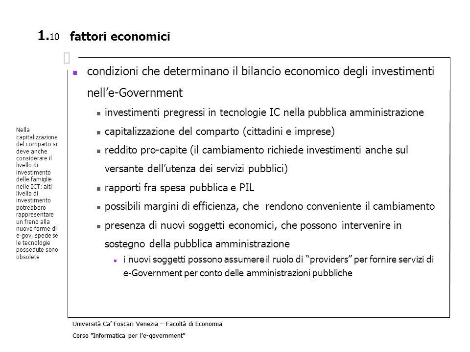 fattori economici condizioni che determinano il bilancio economico degli investimenti nell'e-Government.