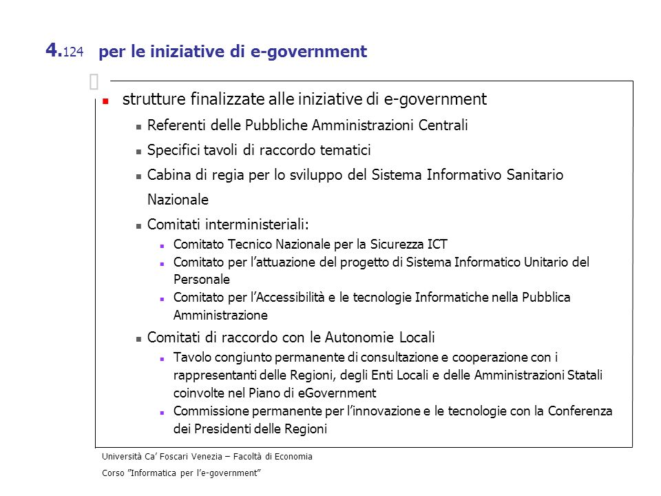 per le iniziative di e-government