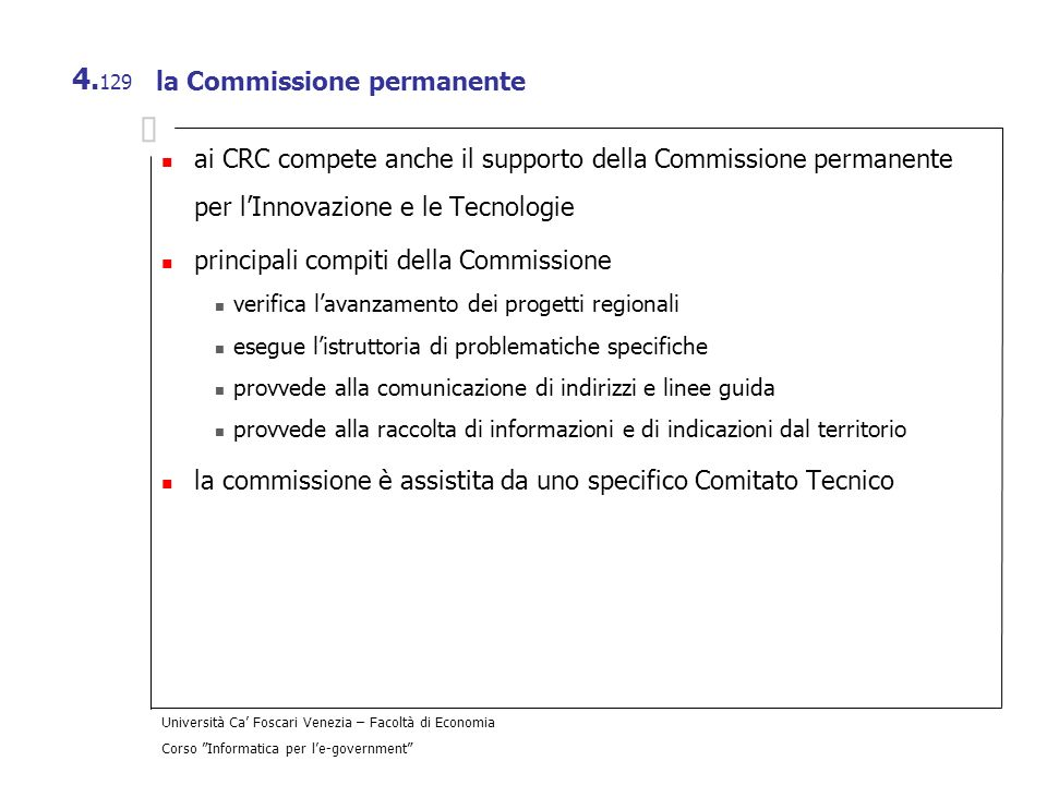la Commissione permanente