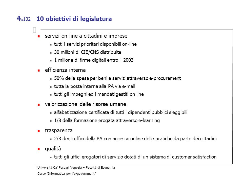 10 obiettivi di legislatura