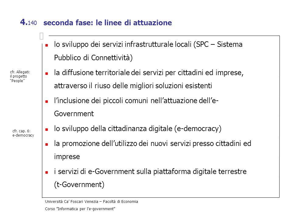 seconda fase: le linee di attuazione