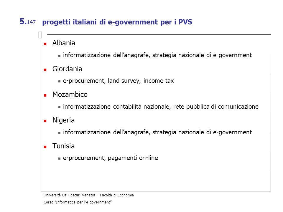 progetti italiani di e-government per i PVS