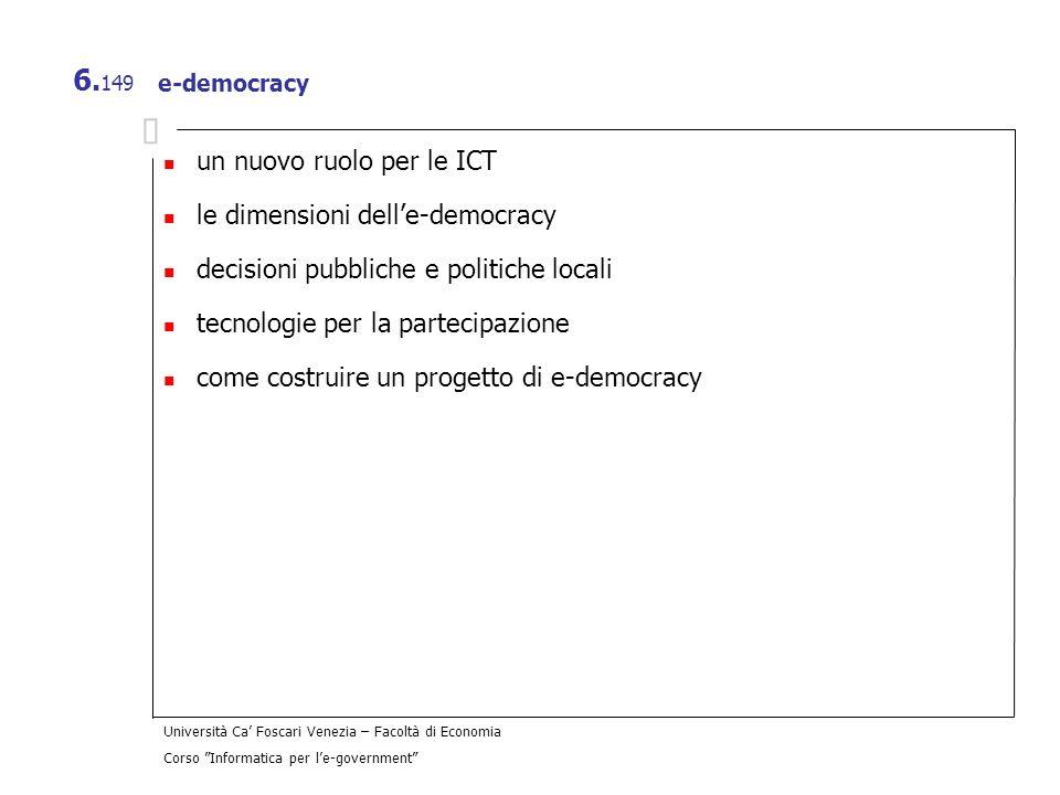 un nuovo ruolo per le ICT le dimensioni dell'e-democracy