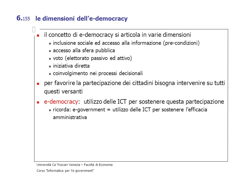 le dimensioni dell'e-democracy
