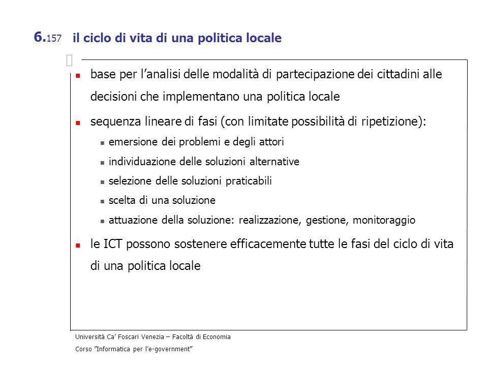 il ciclo di vita di una politica locale